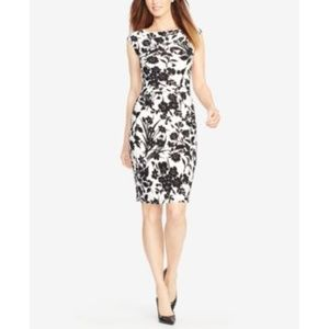 Black & Ivory Floral Ruched Sheath Dress NEW